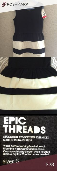"""💕NWT💕Girls Size Small (7/8) Black/Ivory Dress Brand New Epic Threads from Macy's, this cute dress is cute, simple, and elegant all at the same time! Deep black bodice w/Ivory insets skirted portion. Fits 49-54"""" and 52-63#. 68% Cotton, 27% Polyester and 5% Spandex. Cute as can be! Epic Threads Dresses Casual"""