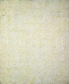 #JasperJohns White Numbers, 1957. Encaustic on canvas, 34 x 28 1/8 inches. Collection The Museum of Modern Art, New York. Elizabeth Bliss Parkinson Fund. © 2013 Jasper Johns / Licensed by VAGA, New York.  #JasperJohns #JKLFA