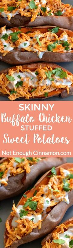 Baked sweet potatoes loaded with buffalo sauce shredded chicken + skinny blue cheese sauce! So delicious and comforting! Find the recipe on NotEnoughCinnamon.com