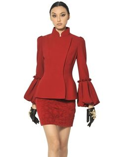 Alexander Mcqueen Virgin Wool Crepe Jacket in Red - Lyst Fashion Story, World Of Fashion, Corporate Chic, Maroon Dress, Stylish Jackets, Rock, Suit Fashion, Dress Me Up, Lady In Red