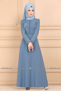 moda selvim Fiyonk Kemerli Taşlı Elbise 8340W153 Bebe Mavisi Hijab Fashionista, Muslim Fashion, Party Dress, High Neck Dress, Casual, Gw, Dresses, Vestidos, Clothing Alterations