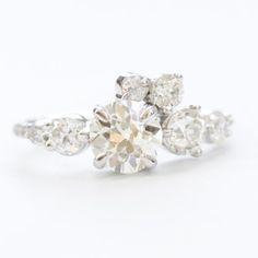 White Diamond Crescent engagement ring in 14K White Gold | Mociun Custom
