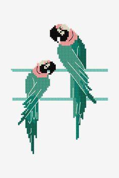 Free embroidery ,cross stitch patterns , crochet and knitting pattterns Cross Stitch Bird, Cross Stitch Animals, Cross Stitch Designs, Cross Stitch Charts, Cross Stitching, Cross Stitch Embroidery, Cross Stitch Patterns, Bead Loom Patterns, Baby Girl Patterns