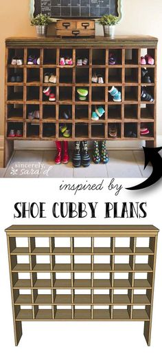 Build Your Own Shoe Cubby with Remodelaholic. Make a shoe cubby for your entry way or mud room! It will turn organization into a decor statement. Love this idea! Build Your Own Shoe Cubby with Remodelaholic Cubbies, Furniture Projects, Home Projects, Furniture Storage, Furniture Outlet, Discount Furniture, Building Furniture, Cheap Furniture, Homemade Furniture