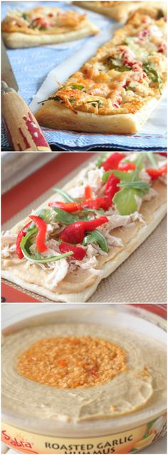 Chicken Arugula and Hummus Tarts.  Perfect appetizer for any party!