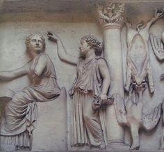 Relieve con el interior de una carnicería. Comercios como este eran común en los Foros ubicado en el museo de la civilización romana