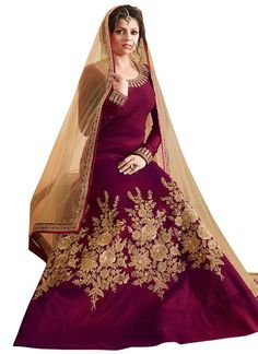 Drashti Dhami Wine Anarkali Suit