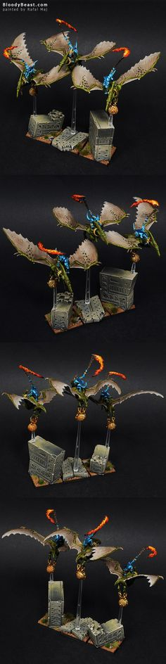 Lizardmen Terradon Riders  Might Have to steal the flame Idea. Great Work!