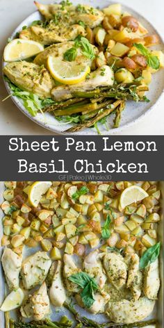 Mar 13, 2020 - This Sheet Pan Lemon Basil Chicken makes a super easy weeknight meal with just a few ingredients, but lots of flavor! 30 minutes and dinner is done. Primal Recipes, Real Food Recipes, Chicken Recipes, Healthy Recipes, Paleo Meals, Paleo Food, Vegetarian Food, Healthy Foods, Free Recipes