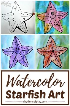 Watercolor Starfish Art! Learn how to paint a starfish, with watercolors, using black glue as a resist medium. Creating starfish art is a fun art project for kids and teens. Draw your own starfish or enjoy painting a starfish using our FREE printable template!   #KidsCrafts #OceanTheme #CraftsForKids #UnderTheSea