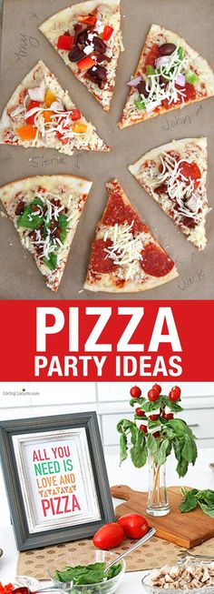 Easy Pizza Party Ideas! How to make a pizza bar with frozen pizza. Fast buffet idea for a crowd, such as large family dinners, birthday party or graduation. Free printable pizza quotes. #glutenfree #GlutenFreedom #sponsored Pizza Party Birthday, Birthday Parties, Graduation Parties, Birthday Crafts, 25th Birthday, Graduation Ideas, Empanadas, Party Set, Diy Party