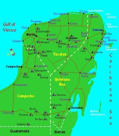map of the yucatan peninsula in mexico showing the ancient mayan sites