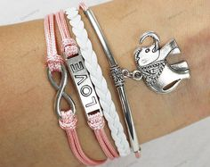 personalized love braceletselephant braceletspink by lifesunshine, $6.99