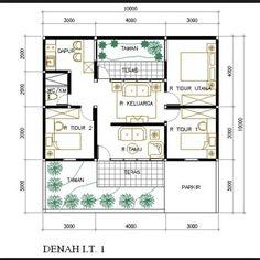 Gambar Denah Rumah Minimalis Leter U Yang Bisa Anda Contoh Gratis Type 45, Minimal House Design, Small House Design, Shed Design, Home Design Plans, Shed Plans, House Plans, Roof Styles, House Styles