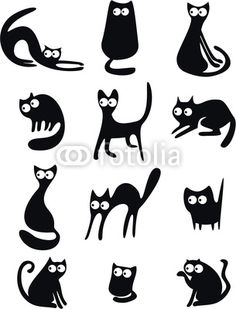 Vector: Black cat silhouettes Shape ideas for three kitties sitting together