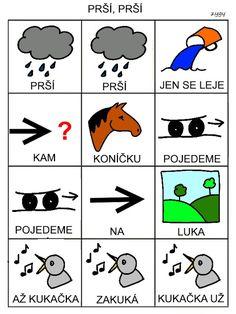 Pro Šíšu: Prší, prší Kids Learning Activities, Word Art, Montessori, Language, Kids Rugs, Education, Logos, Children, Ms