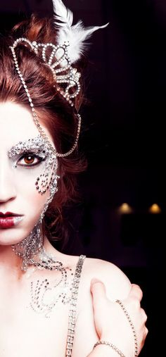 Crystals galore accent this fantasy make-up look.