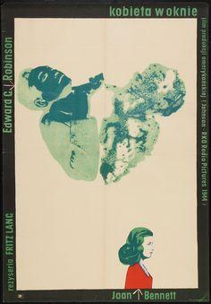 Wojciech Zamecznik, The Woman in the Window by Fritz Lang, 1958 Polish Movie Posters, Film Posters, 1940s Movies, Hd Movies, Krzysztof Kieslowski, Window Poster, Crime Film, Fritz Lang, Kunst Poster