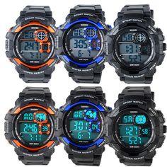 Fashion Men Waterproof Military EL Light Alarm Digital Sport Quartz Wrist Watch