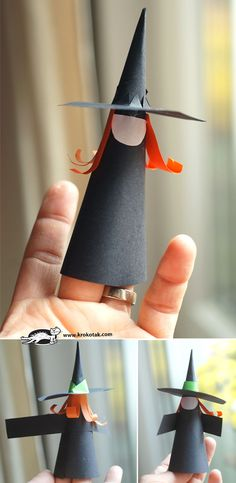 Witch with his own hands - Diy and Crafts Casa Halloween, Halloween Crafts For Kids, Halloween Activities, Happy Halloween, Halloween Witches, Adornos Halloween, Paper Cones, Autumn Crafts, Holidays And Events
