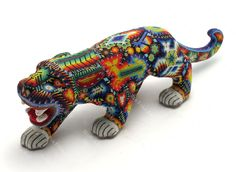 Huichol Stalking Jaguar - World Folk Art - Find Stained Gourds, Metal Wall Hangings, and more