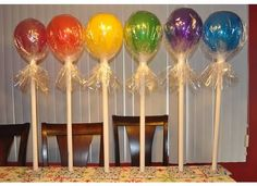 Candy themed party: white painted tubes, latex balloons, covered in clear cellophane Candy Theme Birthday Party, Candy Land Theme, Candy Party, 1st Birthday Parties, Candy Land Decorations, Lollipop Birthday, Birthday Ideas, Candy Land Christmas, Diy Halloween Dekoration