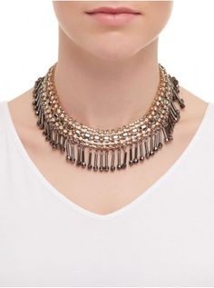 Jewelled Fringed Choker Necklace Multi-colour 270