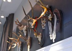 antler jewelry display. Oh my god this is perfect. This is what I need