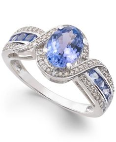 Tanzanite (1-1/2 ct. t.w.) and Diamond (1/4 ct. t.w.) Ring in 14k White Gold