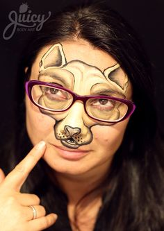 Nerdy Chihuahua Dog Face Painting - Art & Photo: Susanne Daoud from www.JuicyBodyArt.com,  Model: Rosy Lazzaro