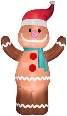 Airblown Inflatables Christmas Gingerbread Boy with Santa Hat Decoration