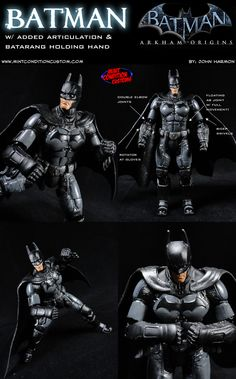 The Mattel Batman Unlimited Arkham Origins Batman figure looks great, and has wonderful poseability from the waist down (double knee joints!), but was severely lacking in the upper body area. I went through and gave the figure a bunch of new articulation. First thing I did was take some pieces from a movie Mr. Fantastic figure and gave Batman double elbow joints.