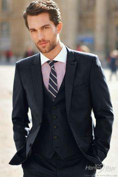 72e7b446ecd Custon Mens Suits Black Wedding Suits For Men Notched Lapel Tuxedos Two  Button Groomsmen Suits Three Piece Suit Jacket+Pants+Vest+Tie C245 Mens  Black Tie ...