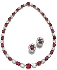 Rare and highly important ruby and diamond necklace, Late 19th Century. Designed as a rivière of twenty-four cushion-shaped rubies alternating with twenty-four similarly shaped diamonds, mounted in silver and gold, length approximately 433mm, accompanied by the original worksheet listing the weights of the stones and stating that four rubies and four diamonds were added to lengthen the original necklace on 24th October 1884.