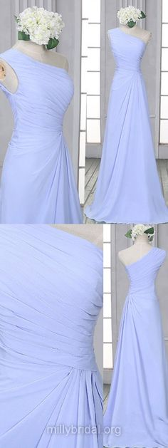 Lavender Bridesmaid Dresses, Long Bridesmaid Dresses, Chiffon Ruffles One Shoulder Bridesmaid Dresses