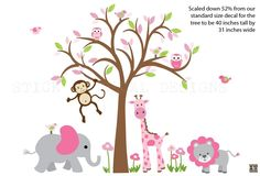 Girl Room Nursery Decal, Nursery Wall Decal, Jungle Animal wall decal, monkey decal, Smaller Size Pretty in Pink Design, Brown Tree by StickItDecalDesigns on Etsy https://www.etsy.com/ca/listing/479322343/girl-room-nursery-decal-nursery-wall