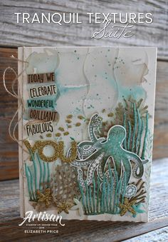 Sea of Textures Seeing Ink Spots: In the Ocean for a Hand Stamped Sentiments Challenge Making Greeting Cards, Greeting Cards Handmade, Octopus Card, Sea Texture, Nautical Cards, Stampin Up Catalog, Stamping Up Cards, Ocean Themes, Artist Trading Cards