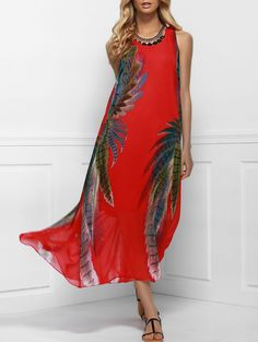 Bohemian Style Red Print Sleeveless Scoop Neck Dress For Women