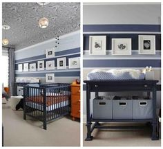love the style of this nursery - would be terrific in any color palette. love the bold stripes, the color accents, and the flexibility of the furniture. the wallpaper ceiling is a bit too much work, though.
