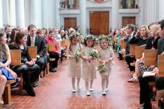 Three adorable flower girls in lace dresses and flower crowns {Arte De Vie}