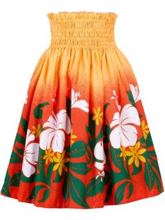 Hula Pa'u Skirt with Hibiscus & Tiare Print / Orange / G1623