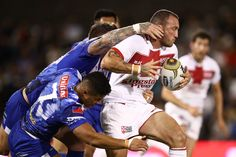 Canberra Raiders hooker Josh Hodgson representing England runs the ball during the 2017 Pacific Test Invitational match between England and Samoa at Campbelltown Sports Stadium on May 6, 2017 in Sydney, Australia.