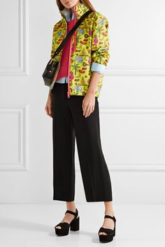 Prada - Hooded Printed Silk-faille Jacket - Yellow - IT38