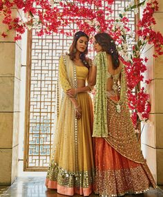 Girly pastel lehengas for Mehendi/ Sangeet Light Lehengas - Yello Lehenga with Mirror Work and Coral Lehenga with a Mint Green Dupatta Indian Attire, Indian Ethnic Wear, Indian Wedding Outfits, Indian Outfits, Wedding Dresses, Bollywood, Desi Clothes, Indian Clothes, Lehenga Designs