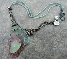 Song of the Sea Copper and Sea Glass Necklace by stacilouise,