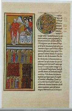 """""""Scivias""""(Know the ways of the Lord) by the German nun and mystic Hildegard von Bingen (1098-1179).The book, Codex Rupertsberg,disappeared during WW II.Transparen- cies are from a facsimile.A priest celebrates communion Some Christians are in the light,others in darkness."""