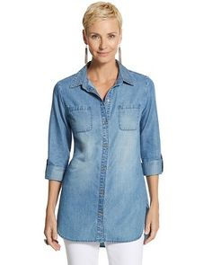 Chico's Long Denim Halle Shirt #chicossweeps
