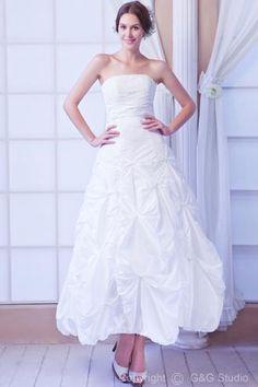 CLICK IMAGE TWICE FOR PRICING AND INFO:) #women #womendresses #eveninggown #cocktaildress #wedding #weddinggown #eveningdresses #prom #debut #partydress #bridesmaid SEE MORE v-neck/v-halter womens dresses at ZBRANDS.COM Elegant Empire Strapless Taffeta Ankle-Length Wedding Dress WEM04902-G