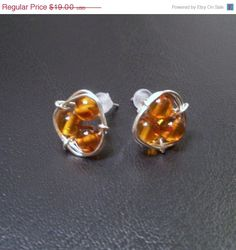SS Triple Amber Post Earrings - Reiki Charged, Amber Stud Earrings, Stone Stud Earrings, Gemstone Post Earring