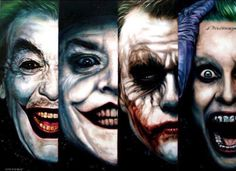 Who's the best Joker? (Painted by Ben Jeffery).  They ALL are awesome in their own ways!!!!
